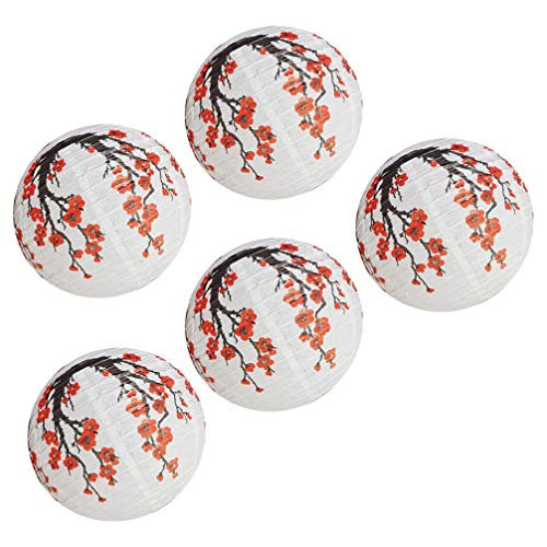 OSALADI 5 Pcs Chinese Japanese Red Cherry Flowers Paper Lantern Round Paper Lamp for Home Wedding Party Bedroom Living Room Restaurant Decoration White Red