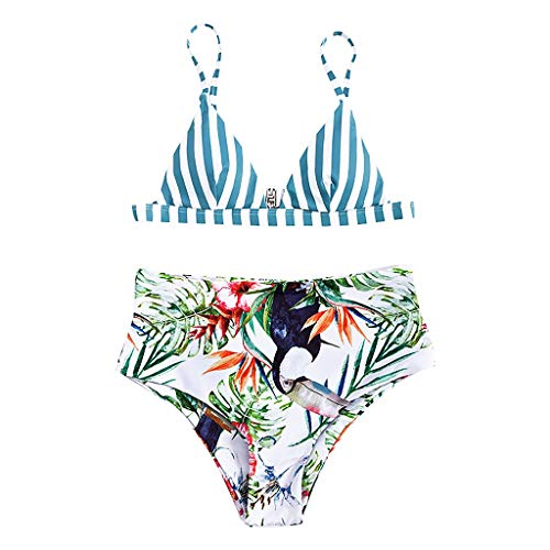 New Mlide Womens Stripe Printing High Waisted Bikini Set Cute Two Piece Swimsuits Bathing Suits Whit...