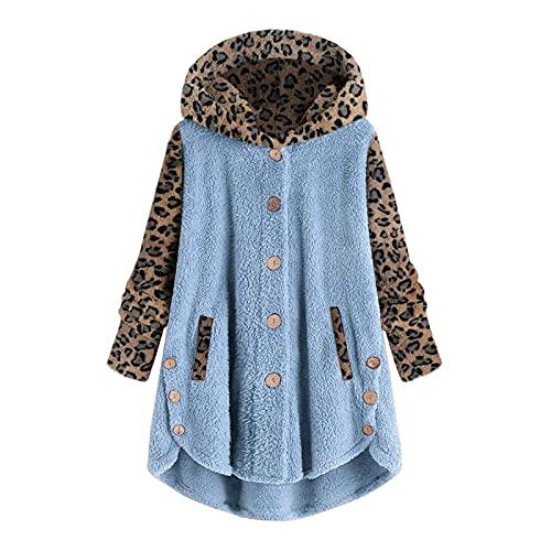 Felpa da donna in pile con cappuccio con orecchie di gatto con cappuccio a maniche lunghe, stampa leopardata patchwork con cappuccio, C blu, 5XL