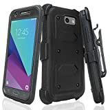 GALAXY WIRELESS for Galaxy J7v Case / J7 (2017) / J7 Perx Case / J7 Sky Pro/Galaxy J7 Prime Case,Heavy Duty Belt Clip Holster [Built in Screen Protector] Full Body Protection for Galaxy Halo - Black