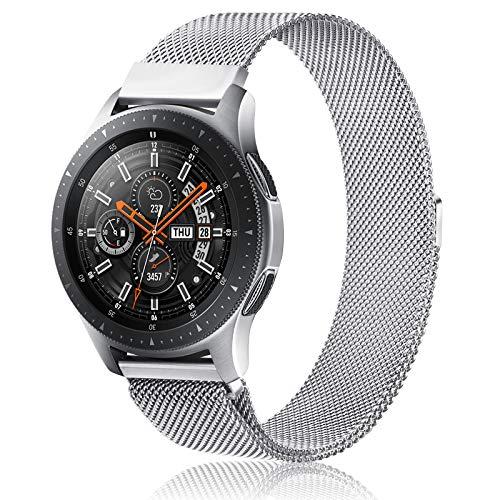 Gaoren Kompatibel mit Samsung Galaxy Watch 46mm/Galaxy Watch 3 45mm Armband, 22mm Edelstahl Metall Ersatz Uhrenarmband für Gear S3 Frontier/Classic (Silber)