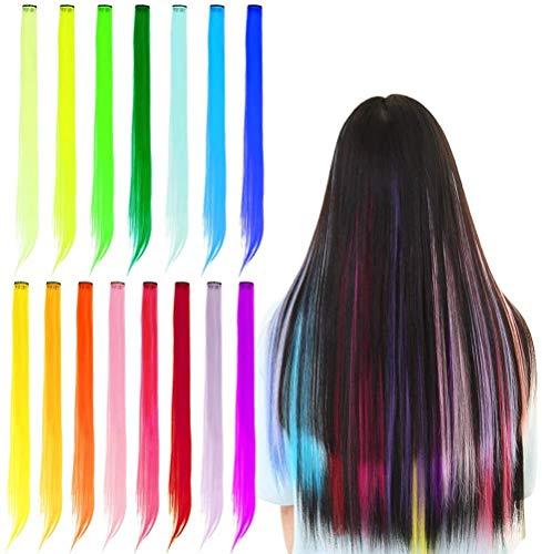 YANSHON 30 Stück bunte Haarverlängerungen, Regenbogen Haarsträhnen, synthetischen langen Haarteil in 15 Farbe, Gerade Perücken Extensions, bunte Haarsträhnen für Frauen, Mädchen, Kinder