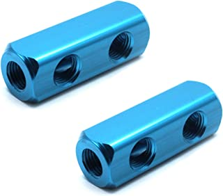 Mecion 2Pcs G 1/4 Thread 2 Way 5 Port Pneumatic Manifold Block Air Hose Inline Quick Connect Splitter Coupler