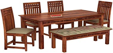 Vinod Furniture Sheesham Wood Dining Table 6 Seater Set Dinning Room Furniture with 4 Chairs and 1 Bench Wooden 6 Seater Dini
