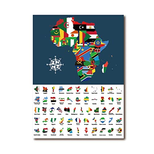 MULMF Afrika Kaart Gemengd met Land Vlaggen Art Poster Prints Collectie van Alle Afrikaanse Kaarten Gecombineerd Canvas Schilderij Home Decor- 50X70Cm Geen Frame