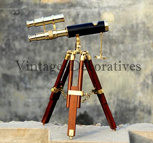 Telescopio latón Doble Barril trípode Madera Ajustable