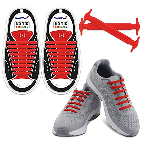 HOMAR No Tie Shoelaces for Kids and Adults - Best in Sports Fan Shoelaces - Stretch Silicone Elastic No Tie Shoe Laces with Multicolor for Sneaker Boots Board Shoes and Casual Shoes