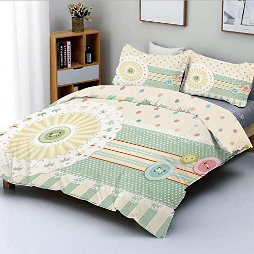 Jojun Duvet Cover Set,Sewing Theme Border with Button Floral Patch Traditional Lace Dots Print DecorativeDecorative 3 Piece Bedding Set with 2 Pillow Sham,Multicolor,Best Gift For Ki Easy Care Ant