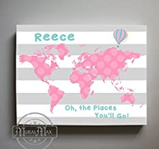 MuralMax - Personalized - Dr SeUSDs Nursery Decor - Striped Canvas World Map Collection - Oh The Places You'll Go - Size - 11 x 14