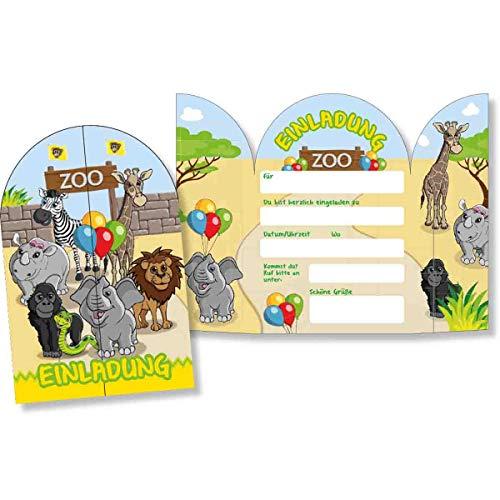 DH-Konzept: 8 Einladungskarten * Zoo & ZOOTIERE * für Kindergeburtstag und Mottoparty | Kinder Einladungen Invites Tiere Party Set