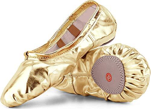 Nzcm Ballettschuhe Mädchen Flache Ballettschläppchen Damen Leicht Weich Schläppchen Kinder Ballerinas Tanz Gymnastik Schuhe mit Geteilter Ledersohle Gold Gr.41