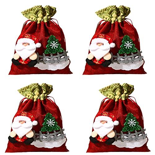 ZYLLZY Sacos de Papá Noel con cordón de Navidad, bolsas de tela de diseño 3D, bolsas de regalo rojas, para regalos de Navidad, suministros de fiesta, cumpleaños, 4 unidades