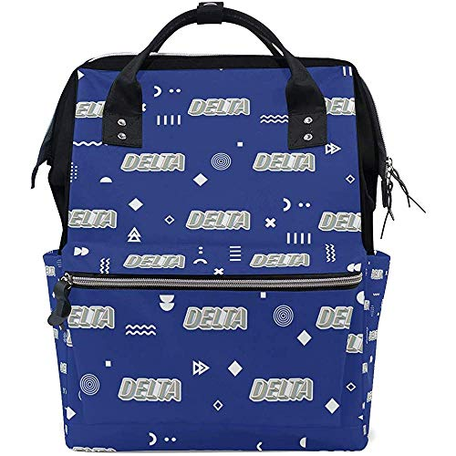 Diaper Bag Letters Delta Backpack for Mom/Dad,Wide Open Multi-Function Travel Backpack Nappy Bags