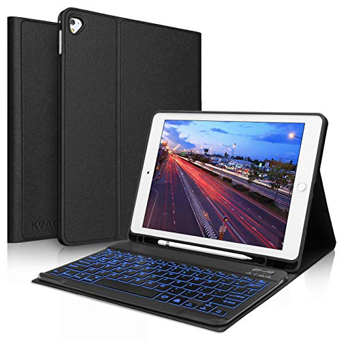 iPad Keyboard Case 9.7 inch, Compatible with iPad 6th gen 2018,iPad 5th gen 2017, iPad Pro 9.7 inch, iPad Air 2, Air, Slim Folio Cover with Detachable Wireless Backlit Keyboard -Black