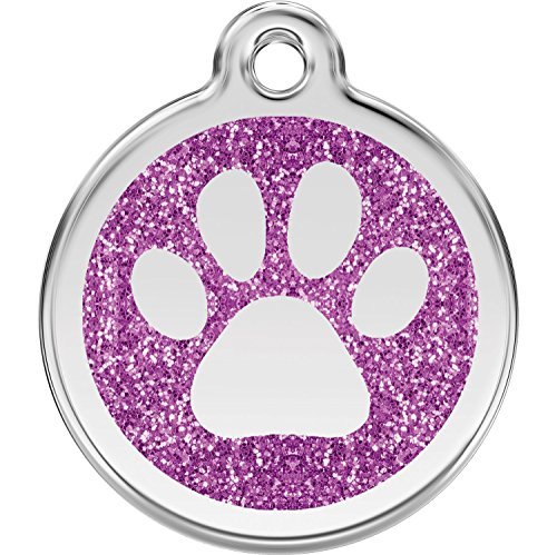 Red Dingo Personalized Glitter Paw Pet ID Dog Tag (Small Purple)