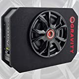 Gravity GSC-W12P 1200 Watts Max Power 600W RMS 12 Inch Car Audio Compact Under Seat Slim Powered Stereo Subwoofer Enclosure 12' Elite Sub Great for All Vehicles