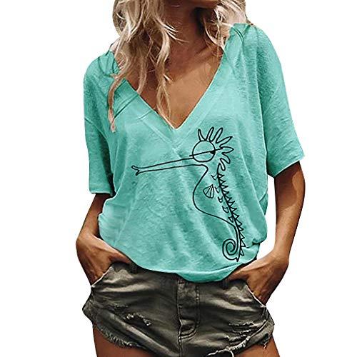 LOPILY Basic Shirts Tier Muster Gedruckte Tshirts Damen Einfarbige Basic Tunika Damen Kurzarm V-Ausschnitt Oberteile Damen Dehnbare Bluse Lässige Freizeit Oberteile (Grün, 52)