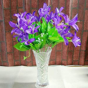 Artificial and Dried Flower 10 Fork 30 Heads Artificial Narcissus Fake Flowers with Leaf Bouquet Faux Daffodils Shrubs Plants Wedding Home Room Party Decor – ( Color: Plum )