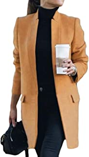 Macondoo Women Blazer Stand Collar Peacoat Jacket Long-Sleeve Casual Outwear