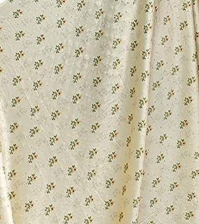 Women's Cream Japan Satin Shining Stone Digital Printed Fabric for kurti/frock/chupa dress