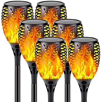 【Upgraded 6-Pack Super Larger Size Solar Flame Torch】Ultra-Bright Solar Lights Outdoor Decorative with Flickering Flame Waterproof Outdoor Lights for Party Backyard Garden Pathway