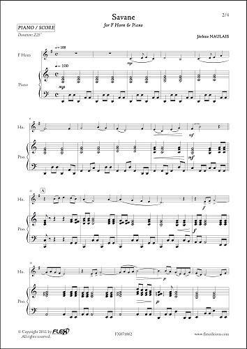 FLEX EDITIONS NAULAIS J. - SAVANE - F HORN & PIANO Klassische Noten Blechblasinstrumente und Percuss Horn