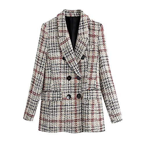 Chalecos de tweed de doble botonadura para mujer, estilo vintage, bolsillos elegantes, Igual a la foto, M