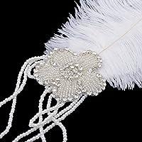 優雅な花のダイヤモンドの羽毛のヘッドバンド1920S女性ロイヤルレース髪飾り