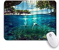 VAMIX マウスパッド 個性的 おしゃれ 柔軟 かわいい ゴム製裏面 ゲーミングマウスパッド PC ノートパソコン オフィス用 デスクマット 滑り止め 耐久性が良い おもしろいパターン (ハワイの海の風景エキゾチックなビーチ熱帯林自然海底ホリデーダイビング)