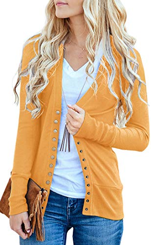 NENONA Women's V-Neck Button Down Knitwear Long Sleeve Soft Basic Knit Snap Cardigan Sweater(Mustard-M)