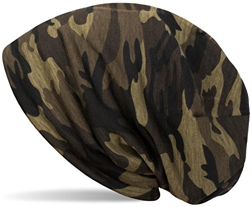 styleBREAKER Beanie Mütze mit Camouflage Muster, Slouch Longbeanie, Unisex 04024129, Farbe:Oliv
