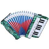 Acordeón para niños, acordeón de acordeón de piano de 17 teclas y 8 bajos con un manual, correa ajustable, ligero y resistente, instrumento de música educativo(green)