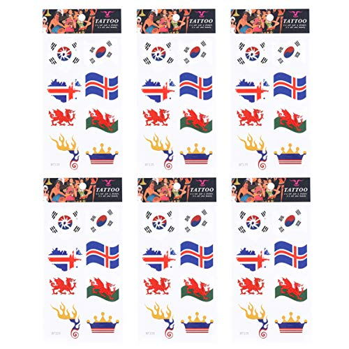 Amosfun 6pcs Temporary Tattoo Countries Flags Stickers Korean Flag Tattoo Stickers Waterproof Face Stickers for World Cup Olympic Games Sports Party Favors (Style 3)