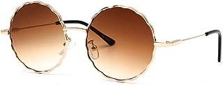 Retro Round Trendy Sunglasses Gradient Lenses Vintage Wave-shaped Gold Metal Frame Hippie Sun Glasses for Women