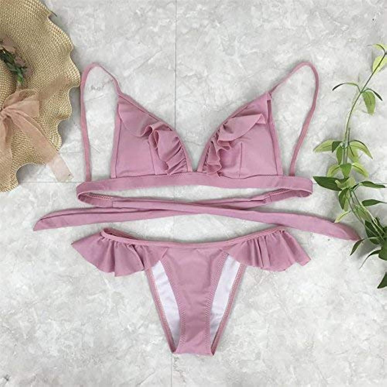 ZHRUI DREI-Punkt-Stil, Reine Farbe Lotus Blatt Blatt Blatt Rand Bikini Badeanzug, S, Xq002, (Farbe   -, Größe   -) B07MBMP7TX  Großer Räumungsverkauf 9060c1