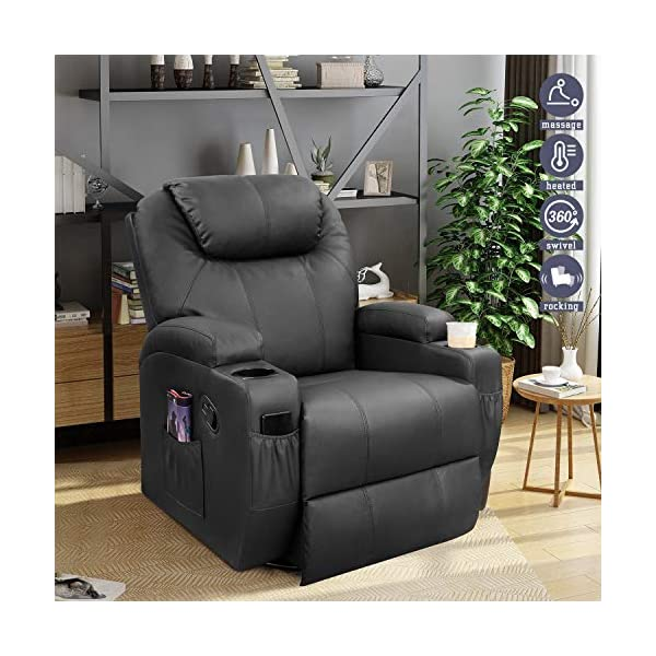 Furniwell Recliner Chair Massage Leather Living Room Chair Home Theater Seating Heated...