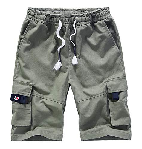Fuwenni Women's Cargo Shorts Plus Size Casual Loose Fit Elastic Waist Bermuda Shorts Army Green US 16