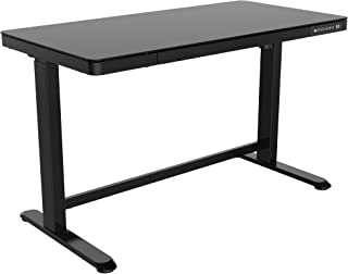 Mahmayi All-in-One Standing Desk with Adjustable Height | USB Charging| Table with Storage Drawer (USB Charging Ports, Black)