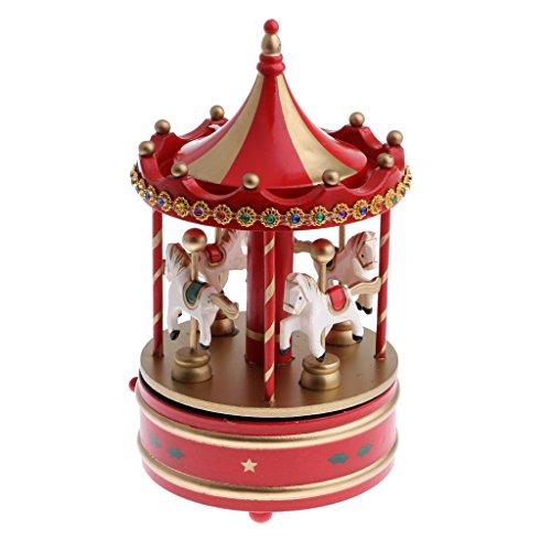 sharprepublic Karussell Spieluhr Spieldose Aus Holz Uhrwerk Spielzeug Weihnachten Dekoration - Rot
