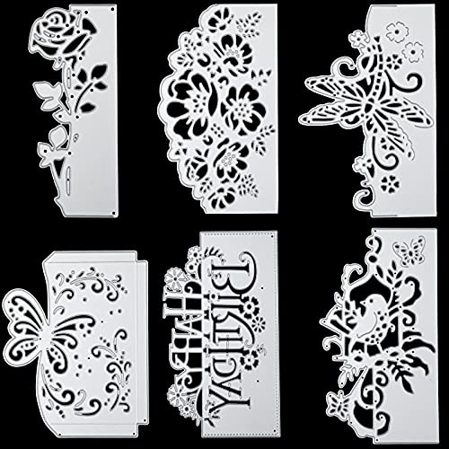 6 Pieces Assorted Metal Die Cuts Flower Cutting Dies Birthday Butterfly Die Cuts Lace Bird Metal Stencils Birthday Card DIY Cutting Templates for Scrapbook Album Paper Card Embossing Decor, 6 Styles