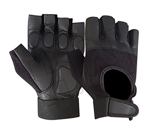 Prime Sports All-Purpose Padded Leather Cycling Weight Lifting Wheelchair Gloves W-1019 (Large)