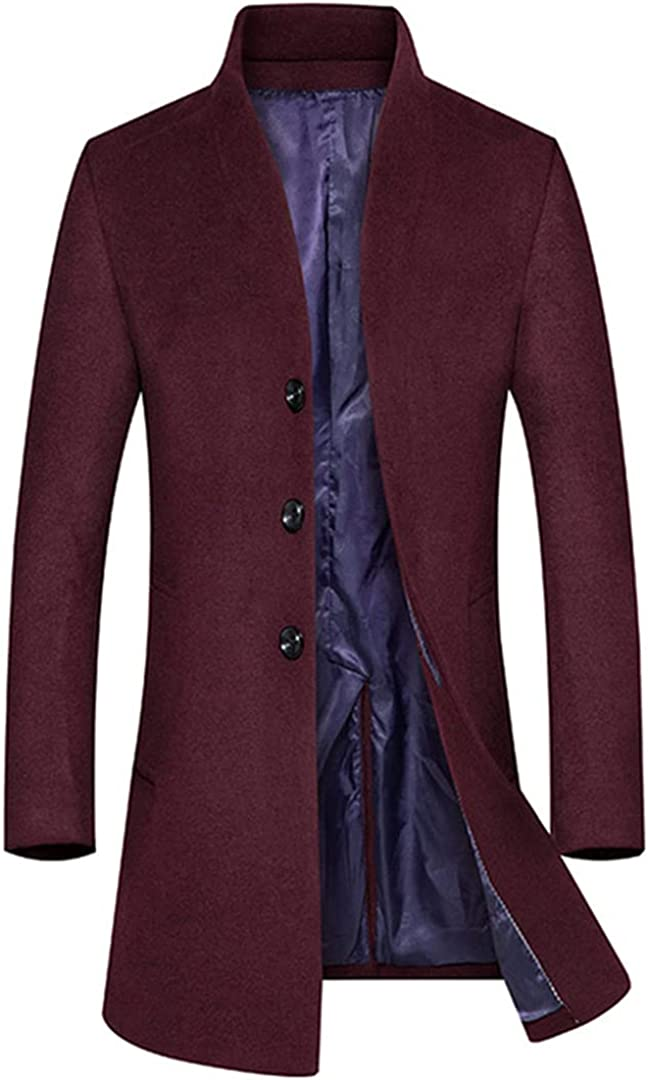Men's Wool Coat British Style Fashion Solid Color Stand Collar Woolen Coat Thick Trench Coat