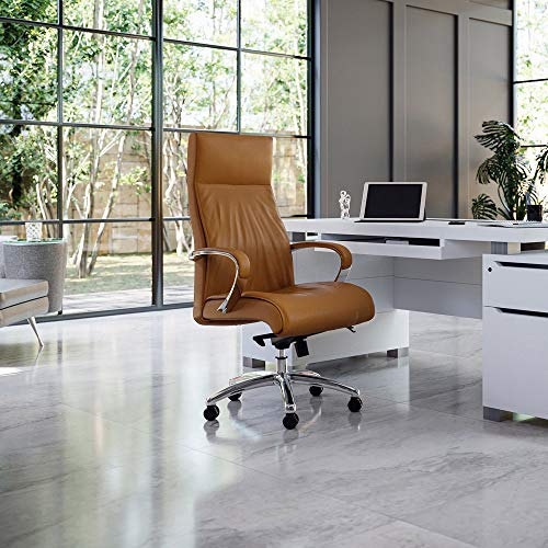 Forbes Genuine Leather Aluminum Base High Back Executive Chair - Tan