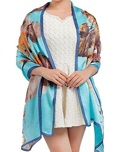 Helan Damen Reale natürliche Seide 175 X 65 cm Lange Schals Mondlicht blau