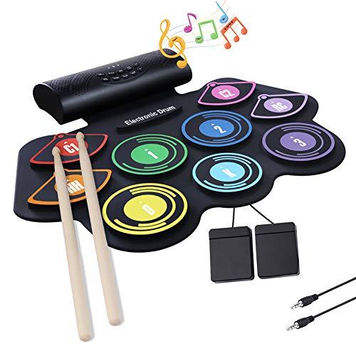 AYYNAM Roll Up Drum Pad Kit Batteria Elettronica 9 Cuscinetti in Silicone Altoparlanti Incorporati con Bacchette Pedali Regalo Di Natale per Bambini
