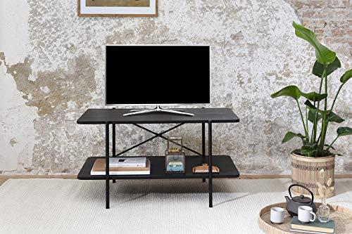 LIFA LIVING Lowboard Tisch Fernsehtisch TV-Board Wohnzimmertisch Couchtisch TV-Schrank TV Tisch Rechteckig Industriedesign Schwarz (87x50x46 cm)