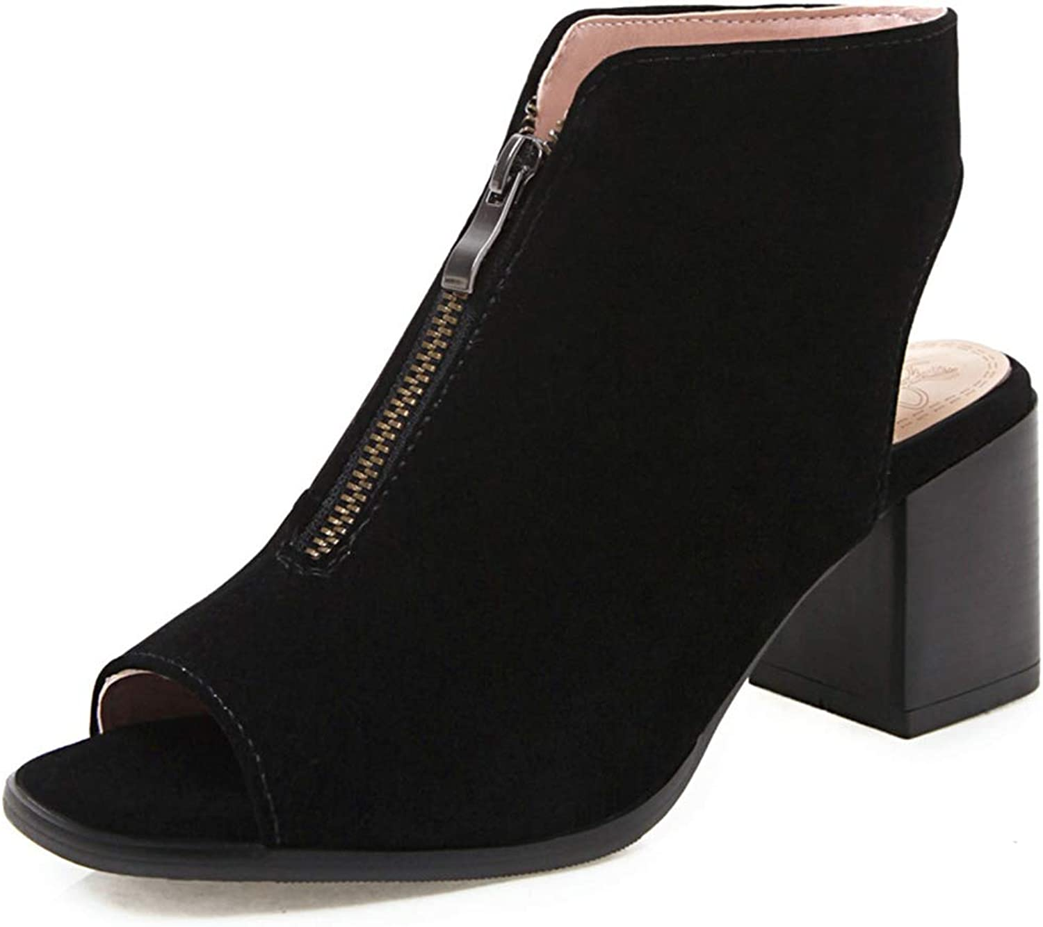 SaraIris Womens Open Toe Summer Cut Out Chunky High Heel Ankle Booties
