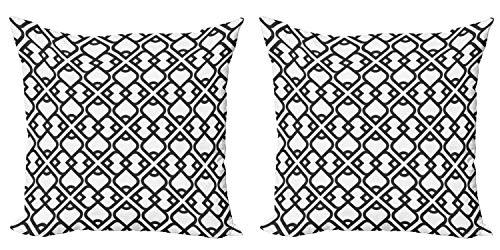 ABAKUHAUS Orientar Set de 2 Fundas para Cojín, Efecto Medio Oriente, con Estampado en Ambos Lados con Cremallera, 45 cm x 45 cm, Gris carbón Negro