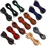 12 Pieces 53 Yard 3 mm Leather Strap Leather Cord Flat Braiding String Faux Suede Boat Shoe Lacing Cord for Boot Laces Logger DIY Jewelry Making Sizing Cut to Fit, Multi-Color