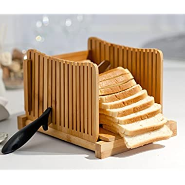 Kenley Bamboo Bread Slicer for Homemade Bread & Loaf Cakes - Compact, Adjustable, Foldable Slice Box Cutter with Cutting Board and Knife Slicing Guide - Thick & Thin Slices 1/3, 3/8 and 1/2